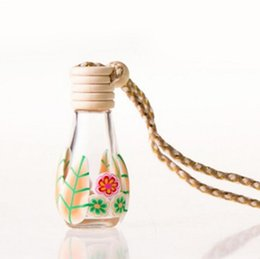 Wholesale Clay Perfume Bottles - Hanging Rope Polymer Clay Empty Bottle 12-15ML Essential Oil Perfume Glass Bottle Car Decoration LX1276
