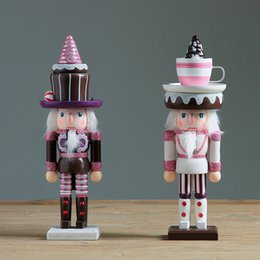 Wholesale wooden soldier nutcracker - 2pc set 25cm Wooden Nutcracker Doll Sweety Soldier Vintage Handcraft Puppet Ornaments Desktop Shop and Home Decoration Christmas Gifts