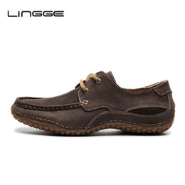 Wholesale natures shoes - Lingge Men's Shoes Lace Up Flats Design Nature Leather Shoes For Men, Fashion Leather Men Casual Shoe #530-11