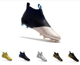 Wholesale Blue White Capsule - KITH x Ace 17+ PureControl Soccer cleats GOLD Camo high tops Dragon football boots sock outdoor Paul Pogba Capsule Angkle sports shoes FG