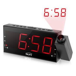 Wholesale Digital Alarm Wall Clock - Inlife Digital Dimmable Projection Alarm Clock FM Radio 1.8In Ultra Large LED Display USB Port 180Degree Swivel Table Wall Clock
