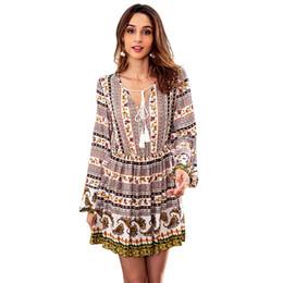 Mujeres Paisley impresión Boho vestido con cuello en V manga larga borlas  vestido corto túnica Vintage Beach una línea Mini vestido de otoño Vestido  Playa ef1ada2fc3f9