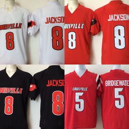 2019 jerseys negros baratos del balompié Hombres Baratos Universidad Louisville Cardenales cosidos 8 Lamar Jackson 5 Bridgewater Rojo Negro Blanco Camisetas de fútbol jerseys negros baratos del balompié baratos