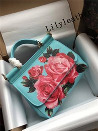 Wholesale Navy Blue Leather Handbags - 2018 New style Sicily red flower pattern printing Flower single shoulder Tote Messenger handbags lady bag top layer leather Leopard inside