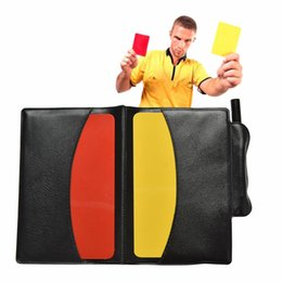 Wholesale notebook yellow - Soccer Referee Red Yellow Card Pencil Sports Notebook Personalized Sport Match Soccer Sheet Set Note Notebook
