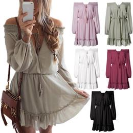 Wholesale empire band dress - 5 Design Plus Size Summer Women Off Shoulder Mini Dress Waist Band V-Neck Long Sleeve Loose Chiffon Dress CL386
