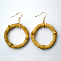 Wholesale circle shaped earrings - Fashion Creative Natural Bamboo Joint Hoop Earrings Hip-Hop Ladies Big Circle Hoop Stud Street Round Shape Hoop Earrings Gift Free DHL H627F