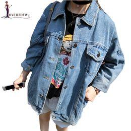große brustgrößen Rabatt Cowboy-Frauen-Mantel 2018 Frühlings-Herbst neue BF-Art lose große Größen-Jacken-lange Hülse Einreiher-Denim-Jacken-Frau DD878