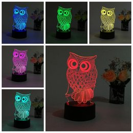 Wholesale Change Tables - USB creative gifts owl 3D night light lighting colorful change LED table desk lamp fashion touch switch hot sale