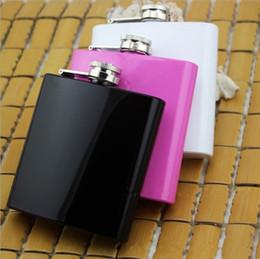 laque blanche Promotion Couleur de bonbon Fiole de hanche Pot à vin portable en acier inoxydable 6 oz laqué Rose blanc et noir T4H0192