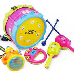 Wholesale Drum Music Instruments - Children Early Education Drum Music Educational Instrument Combination 5 Joy Woolly Waist Drum Hand Bell Trumpet Baby Drum Kit Set