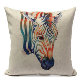 Wholesale Giraffe Throw - Wholesale- European Cartoon Animal Giraffe Printed Pillow Case Cover Linen Waist Home Room Supplies Throw Pillowcase Square 45X45CM