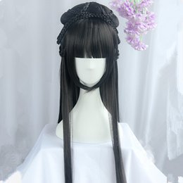 Bei capelli lunghi cosplay online-80cm cinese antica dinastia principessa capelli lunghi capelli vintage capelli bella principessa carnevale cosplay