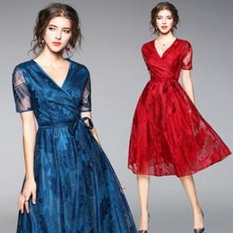 Robes dentelle online-Sommer Pfau blau Spitzenkleid Womens Kleider neue Ankunft 2018 Robe Dentelle Ukraine Vintage Gatsby Kleid Robe Femme