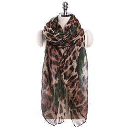 Wholesale ladies leopard print scarf - New Arrival Women Ladies Leopard Print Pattern Long Scarf Warm Wrap Shawl Appropriate Decoration Popular Style Scarves