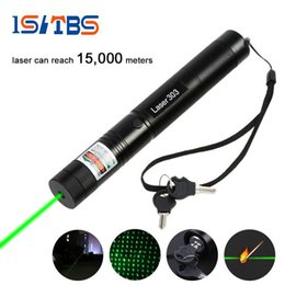 Wholesale Laser Green Pointer - LED Flashlight 5000LM Laser 303 Laser Pointer High Power Green Laser Presenter Star Pattern Filter Safe Key with 18650 Battery