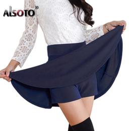 Wholesale Pleated Skater Mini Skirt - ALSOTO Summer style sexy Skirt for Girl Korean Skirts Womens Faldas Anti emptied saia lady Skater pleated mini Skirt tutu