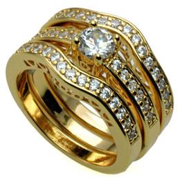 aguafuerte de acero inoxidable Rebajas . 18k oro amarillo Fille anillo de bodas de compromiso establece w / crystal KKA1943