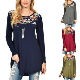 Wholesale black floral tunic - New fashion casual women vintage floral long sleeve patchwork cotton tunic tops loose plus size blouse shirt