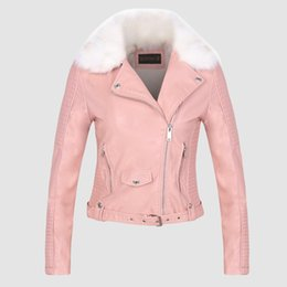 Wholesale Women Biker Jacket Faux Leather - Women winter coat faux leather jacket with Fur collar fur lined white black pink High quality motorcycle jacket biker