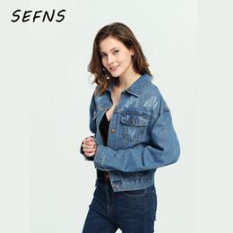 4688d0d100c SEFNS 2018 Women Basic Coat Denim Jacket loose fit casual style girl  EleVintage Femme spring short Splice Jeans Jacket