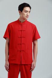 Camisa tradicional china roja online-Camisa de manga corta de algodón de los hombres chinos de traje tradicional Camisa de algodón de manga corta de los hombres de algodón rojo tradicional chino