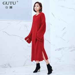 Wholesale types collars dresses - [GUTU] 2017 Autumn Winter New Korean Tide Solid Color Round Collar Long Sleeve Bat Type Pullover Knitting Dress Woman EA62201