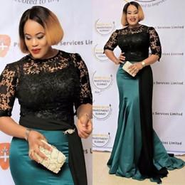 Modest Black Lace Abendkleider Plus Size Mermaid Sheer Neck Halbarm Lange Satin Party Celebrity Kleider Red Carpet Abendkleid von Fabrikanten