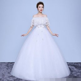 Wholesale Silk Embroidered Pictures - Wedding Dresses 2018 white Lace Appliques Beaded off shoulder Pictures Real Plus Size ball gown Custom made Long Prom Party Dress Hot Sale