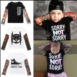 Wholesale long sleeve tattoo t shirts - Boys Girls Tattoo Sleeve T shirt Children Kids Clothes Boys T shirt Splicing Body Art Hip hop Clothing for kids KKA4801