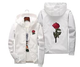 Argentina Rose Jacket Windbreaker para hombres y mujeres jóvenes amantes de la universidad Moda White Black Roses Outwear Coat pluz size US size cheap young black men fashion Suministro