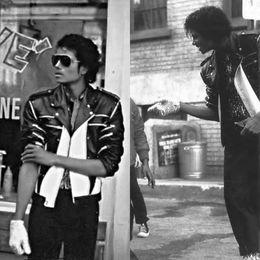 Wholesale Xxs Leather - Rare MJ PUNK Rock Motorcycle Classic MJ MICHAEL JACKSON Costume Beat it Zipper Jacket For Fans Best Gift