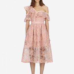 Автопортрет платье с карман женщин 2018 Лето розовый одно плечо платья от