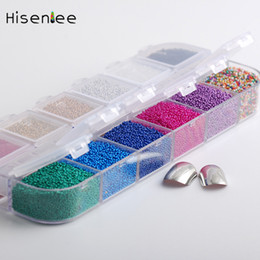 2019 tendenze nail art Hisenlee 12 Colors 1Box Micro Ball Micro Crystal Nail Caviale perline Vetro Trend Caviar Nail Art Decorazioni Suggerimenti Art Set sconti tendenze nail art