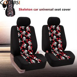 Wholesale Volkswagen Seat Covers - wholesale Universal Car Seat Covers Car Interior Decor Fashion Skull Pattern Auto Seat Cover Car Seat Protector for Toyota Volkswagen BMW