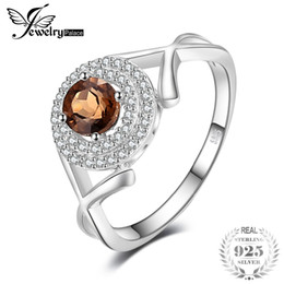 """Wholesale mark x - JewelryPalace Fashion """"X"""" marks 0.65ct Round Smoky Quartzs Anniversary Ring For Women 925 Sterling Silver 2018 New Jewelry"""