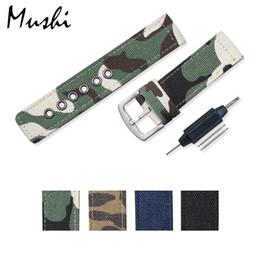 Чёрный ремешок для часов нейлон 24mm онлайн-Watch Strap Camouflage Nylon Mesh Watchbands Women Men Black Sport Watches Belt Accessories Relojes Hombre 20mm 22mm 24mm Canva