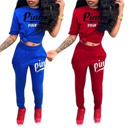 Wholesale love pink shorts l - Women VS Tracksuit Jogger Outfit Love Pink Sportswear Short Sleeve Pants 2PCS Set Pink Letter Clothes Sport Suit BBA227