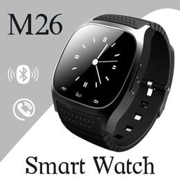 Wholesale Wrist Watch Alarm For Kids - M26 smartwatch Wirelss Bluetooth Smart Watch Phone Bracelet Camera Remote Control Anti-lost alarm dz09 A1 U8 watch for IOS Android