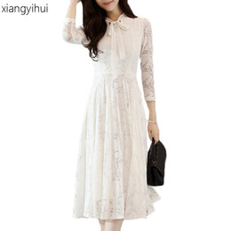 Wholesale Winter Work Dresses For Women - Black White Pink Lace Dress for Women Winter Autumn Bow Tie O-neck Long Sleeve Pleated Dresses Female Fashion Office Work Wear