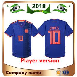 2019 uniforme de futbol tailandés 2018 Men World Cup Player versión # 10 James Soccer Jerseys Away Blue Shirt # 9 Falcao Quality Thai Edition Uniforme de Fútbol del Equipo Nacional rebajas uniforme de futbol tailandés