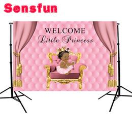cámaras del cielo Rebajas al por mayor de fondos de fotografía Invitación de princesa Pink Party cortina sofá de cumpleaños celebración mesa de postres Antecedentes