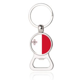 Wholesale Stainless Steel Bottle Print - 2018 World Cup-The Republic of Malta National Flag Photo Printing Bottle Cap Opener Key Chain,Photo Dome Bottle Opener,Russia FIFA