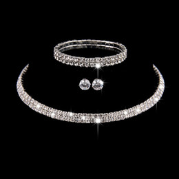 2021 африканские бисерные браслеты Silver Color Circle Crystal Bridal Jewelry Sets African  Rhinestone Wedding Necklace Earrings Bracelet Sets For Women