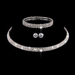 2020 африканский кристалл бисер колье комплект Silver Color Circle Crystal Bridal Jewelry Sets African  Rhinestone Wedding Necklace Earrings Bracelet Sets For Women дешево африканский кристалл бисер колье комплект