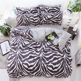 Wholesale Zebra Print Bedding King - Zebra Stripe Bedding Set Black White Duvet Cover Bed Set Single Double Queen King Size Bed Sheets Bedclothes 4PCS
