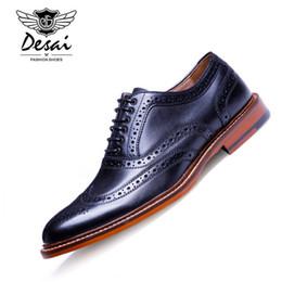 Wholesale Vintage Brogues - DESAI Brand British Style Full Grain Leather Men Carving Oxford Shoes Vintage Design Men Brogue Business Shoes Size 38-43