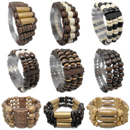 abacus gifts Coupons - Wooden Bead Bracelet Mix 9 Styles Stretch Strands Chain Watch Style Cylinder Round Abacus Three Four Rows Wood Beads Charm Bracelets (JM006)