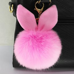 Wholesale Plush Accessories - keychain Keyring Fake Rabbit fur ball porte clef pompom de fourrure fluffy Bag Charms DIY accessories fast free shipping