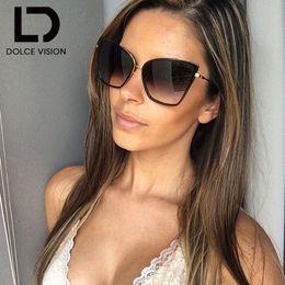 Wholesale Copper Shades - DOLCE VISION Sun Glasses for Women Sunglasses Cat Eye Female Coating Fashion Shades Sunglass High Quality Oversized UV400 shades